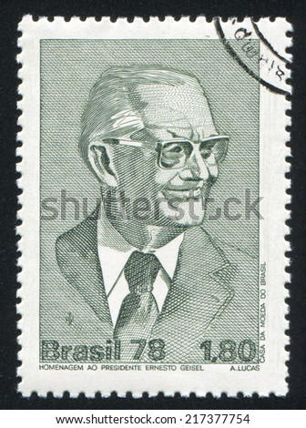 BRAZIL - CIRCA 1978: stamp printed by Brazil, shows  Ernesto Geisel, circa 1978 - stock photo