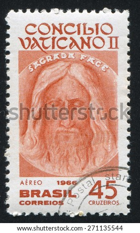 BRAZIL - CIRCA 1966: stamp printed by Brazil, shows  Face of Jesus from Shroud of Turin, circa 1966 - stock photo