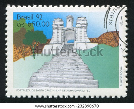BRAZIL - CIRCA 1992: stamp printed by Brazil, shows  Fortresses, circa 1992 - stock photo