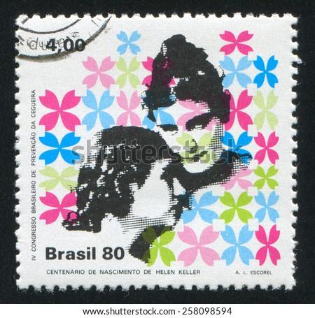 BRAZIL - CIRCA 1980: stamp printed by Brazil, shows  Helen Keller and Anne Sullivan, circa 1980 - stock photo