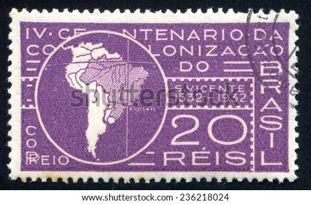 BRAZIL - CIRCA 1932: stamp printed by Brazil, shows  Map of South America Showing Meridian of Tordesillas, circa 1932 - stock photo