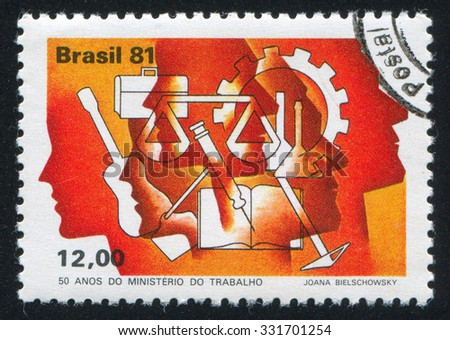 BRAZIL - CIRCA 1981: stamp printed by Brazil, shows  Ministry of Labor emblem, circa 1981 - stock photo