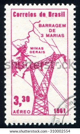 BRAZIL - CIRCA 1961: stamp printed by Brazil, shows  Power Line and Map, circa 1961 - stock photo