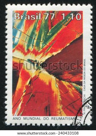 BRAZIL - CIRCA 1977: stamp printed by Brazil, shows  Salicylate Microphoto, circa 1977 - stock photo