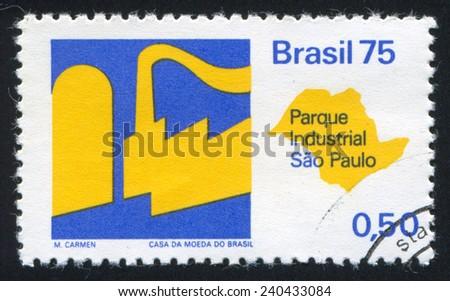 BRAZIL - CIRCA 1975: stamp printed by Brazil, shows  Sao Paulo Industrial Park, circa 1975 - stock photo