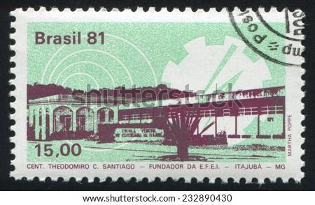 BRAZIL - CIRCA 1981: stamp printed by Brazil, shows  School of Engineering Itajuba, circa 1981 - stock photo