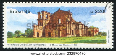 BRAZIL - CIRCA 1985: stamp printed by Brazil, shows  St. Miguel des Missoes, circa 1985 - stock photo