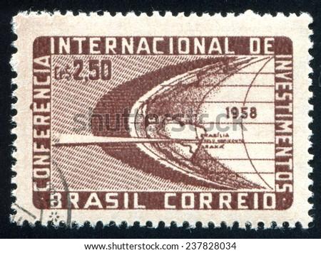 BRAZIL - CIRCA 1958: stamp printed by Brazil, shows  Stylized Globe, circa 1958 - stock photo