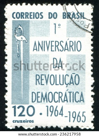 BRAZIL - CIRCA 1965: stamp printed by Brazil, shows  Sword and Cross, circa 1965 - stock photo