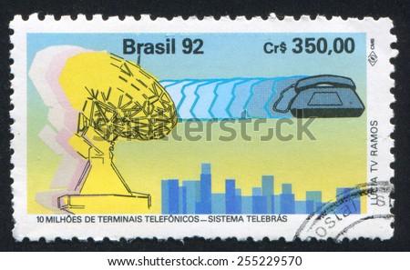 BRAZIL - CIRCA 1992: stamp printed by Brazil, shows  telecommunications, circa 1992 - stock photo