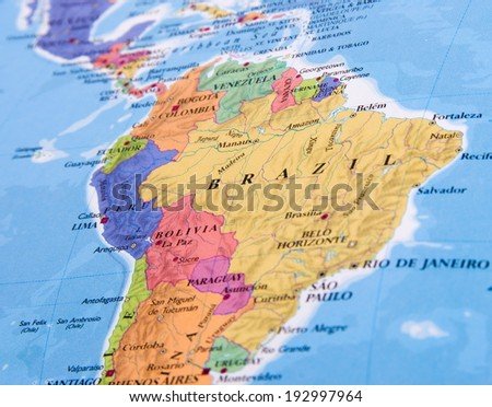 Brazil closeup in the open atlas - stock photo