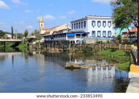 Brazil - colonial town of Morretes in the state of Parana. Old townscape with river reflection. - stock photo