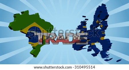 Brazil EU map flags with trade text illustration - stock photo