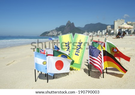 Brazil final tickets with international world flags on the beach in Rio de Janeiro