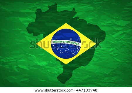 Brazil Flag. An old grunge flag of Brazil state art - stock photo