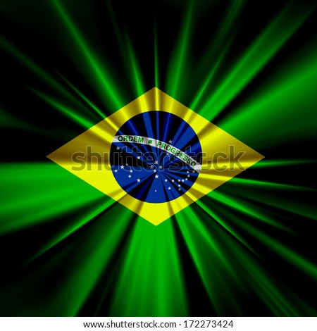 Brazil flag and abstract background - stock photo