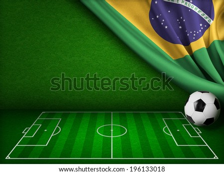 Brazil flag and soccer field concept background - stock photo