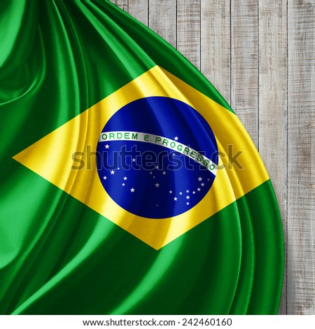Brazil flag and wood background