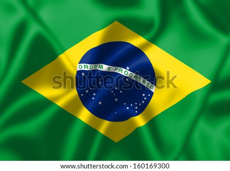 Brazil flag blowing in the wind. Background texture.