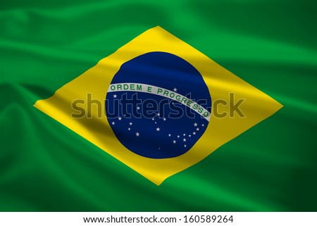 Brazil flag blowing in the wind. Background texture. - stock photo