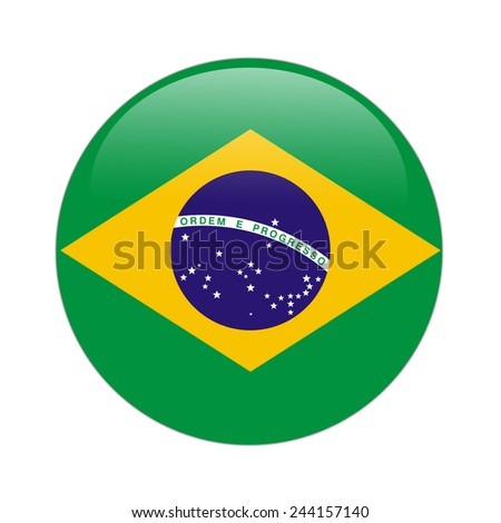 Brazil flag button on white - stock photo