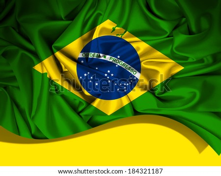 brazil flag fabric and yellow background