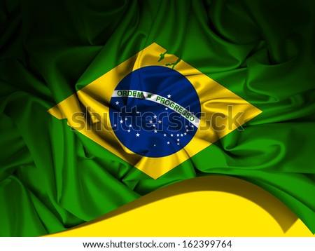 brazil,  flag fabric, background  - stock photo