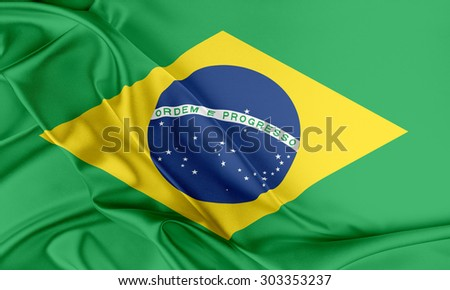 Brazil Flag. Flag with a beautiful glossy silk texture.