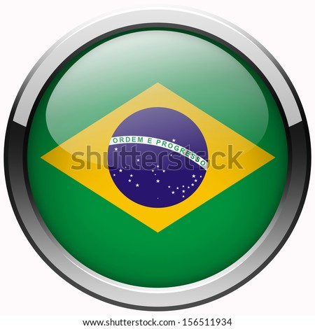 brazil flag gel metal button - stock photo