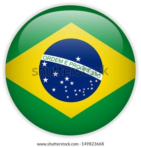 Brazil Flag Glossy Button - stock photo
