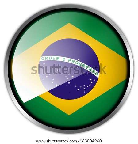 Brazil Flag glossy button - stock photo