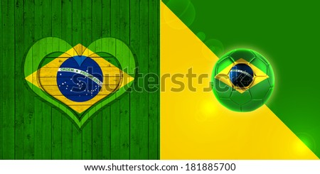 Brazil flag heart  soccer  ball and wood background
