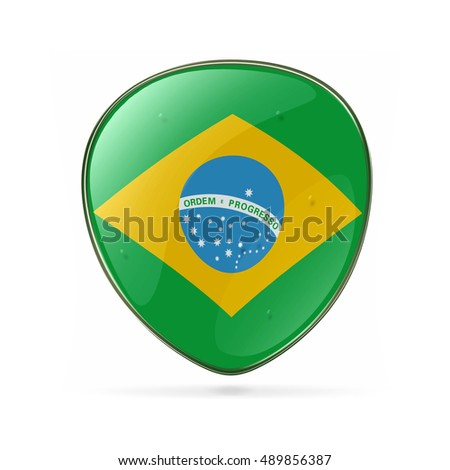 Brazil Flag Icon, isolated on white background.