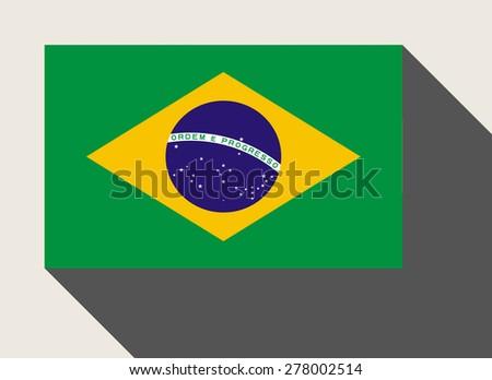 Brazil flag in flat web design style. - stock photo