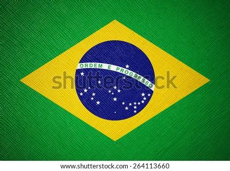 Brazil flag leather texture - stock photo