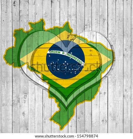 brazil, flag map, background wood heart-shaped - stock photo