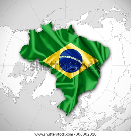 Brazil flag map of silk and world map background - stock photo