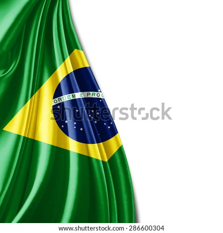 Brazil flag of silk and white background - stock photo