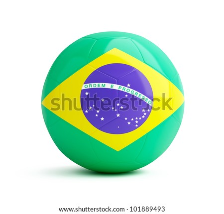 brazil flag on a soccer ball on a white background
