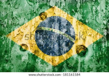 Brazil flag on a weathered grunge background - stock photo