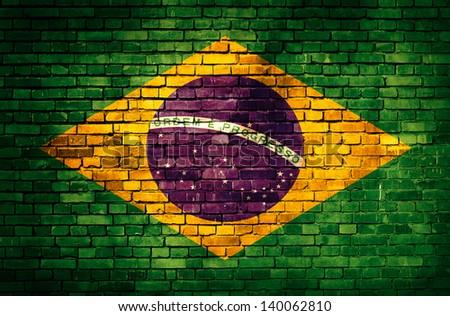 Brazil flag on brick wall - stock photo