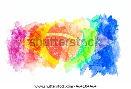 brazil flag on colorful watercolor texture background