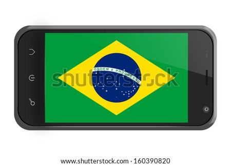 Brazil flag on smartphone screen isolated on white - stock photo