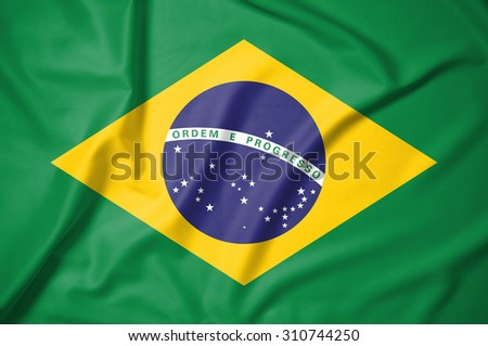 Brazil flag on soft and smooth silk texture
