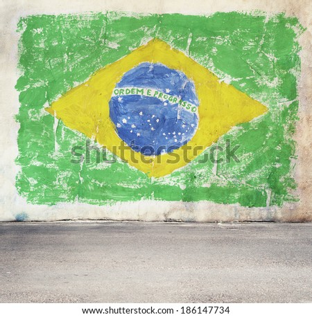 Brazil flag on the wall - stock photo