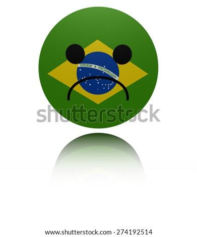 Brazil flag sad icon with reflection illustration - stock photo