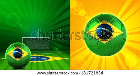 brazil flag soccer  ball and abstract background