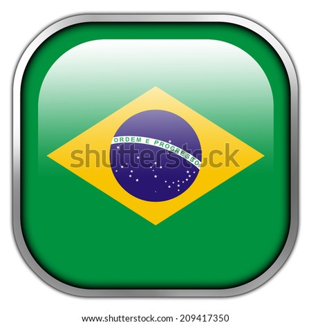 Brazil Flag square glossy button - stock photo