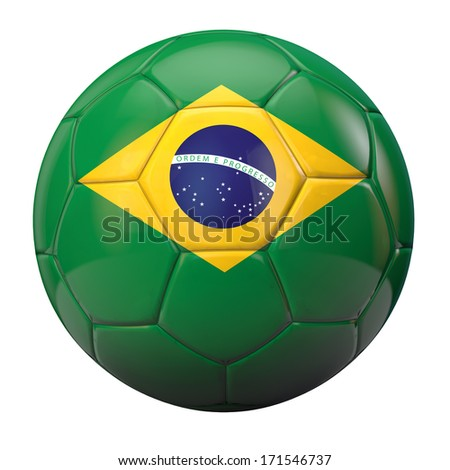 Brazil flag textured football isolated. Clipping path included for easy selection.
