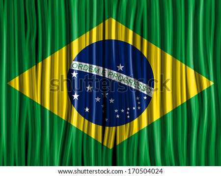 Brazil Flag Wave Fabric Texture Background